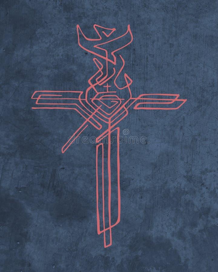Religijny krzyż z różnymi symbolami royalty ilustracja
