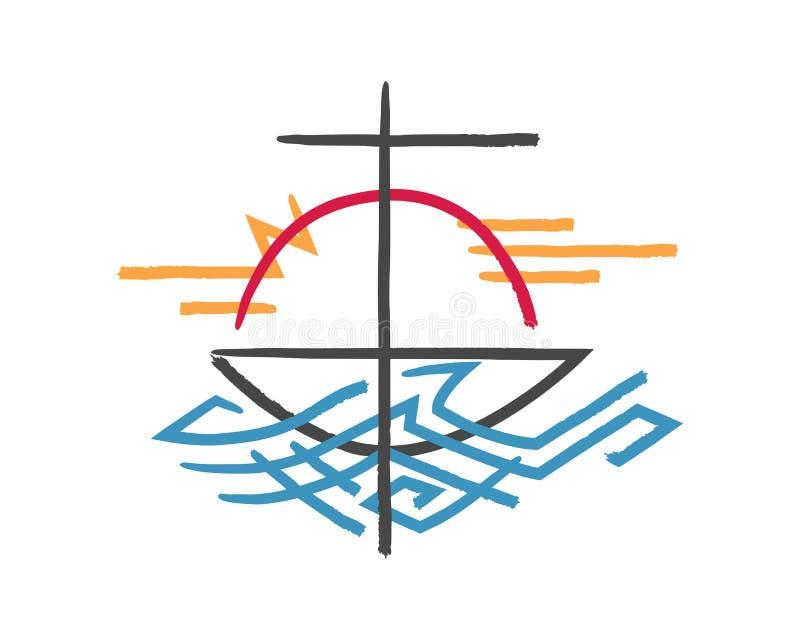 Religijny krzyża, łodzi i morza symbol, royalty ilustracja