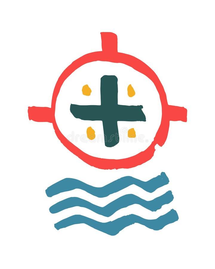 Religijny krzyża i wody symbol royalty ilustracja