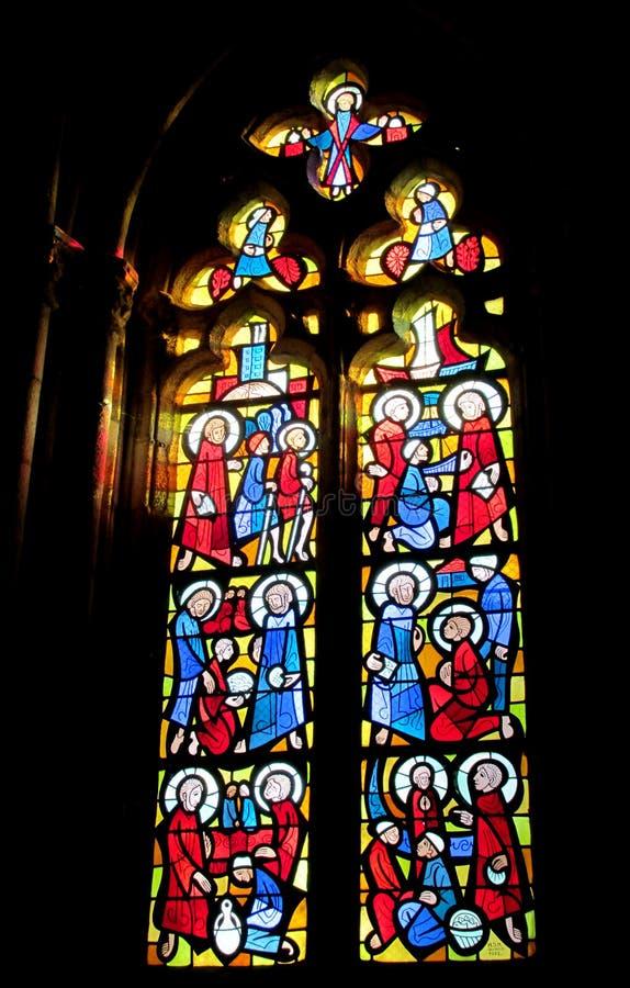 Religijny obrazek na witrażu w kościół obraz royalty free