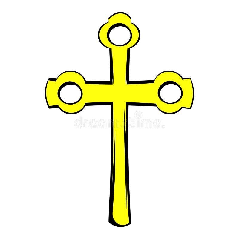 Religijny symbol krucyfiks ikona, ikony kreskówka ilustracja wektor
