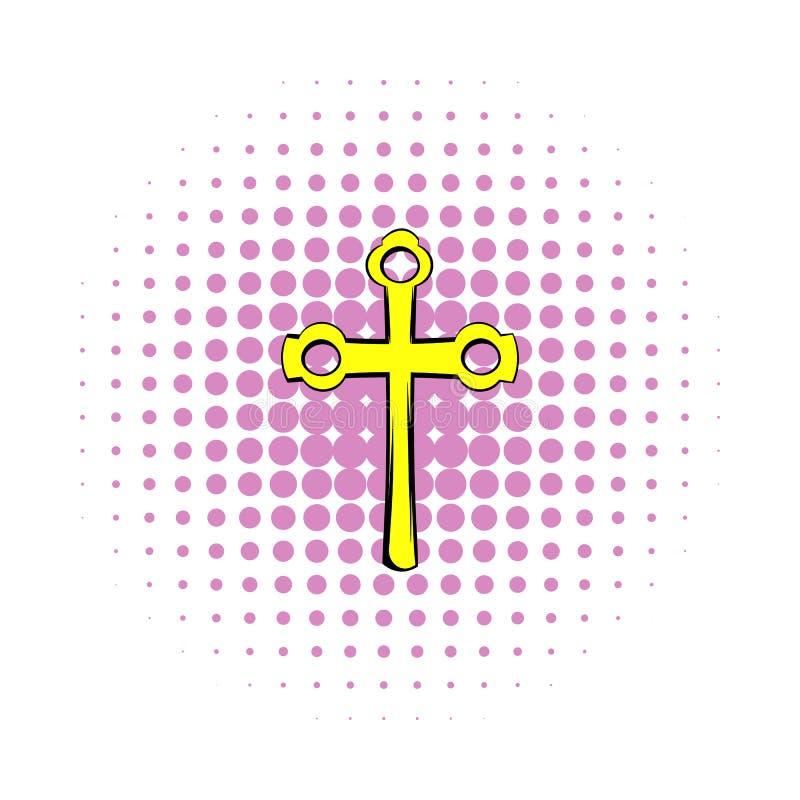 Religijny symbol krucyfiks ikona, komiczki projektuje ilustracja wektor
