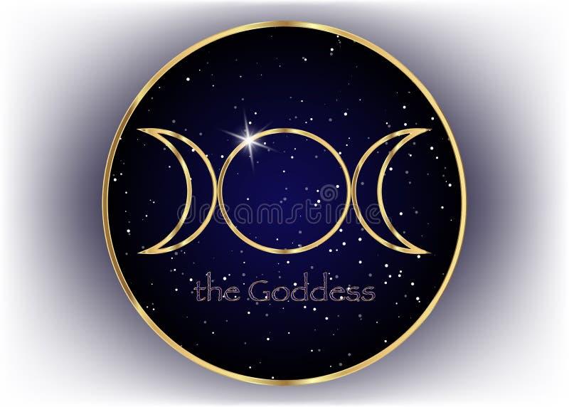 Religijny złoto znak Wicca i Neopaganism Potrójna bogini, wszechrzeczy tło royalty ilustracja