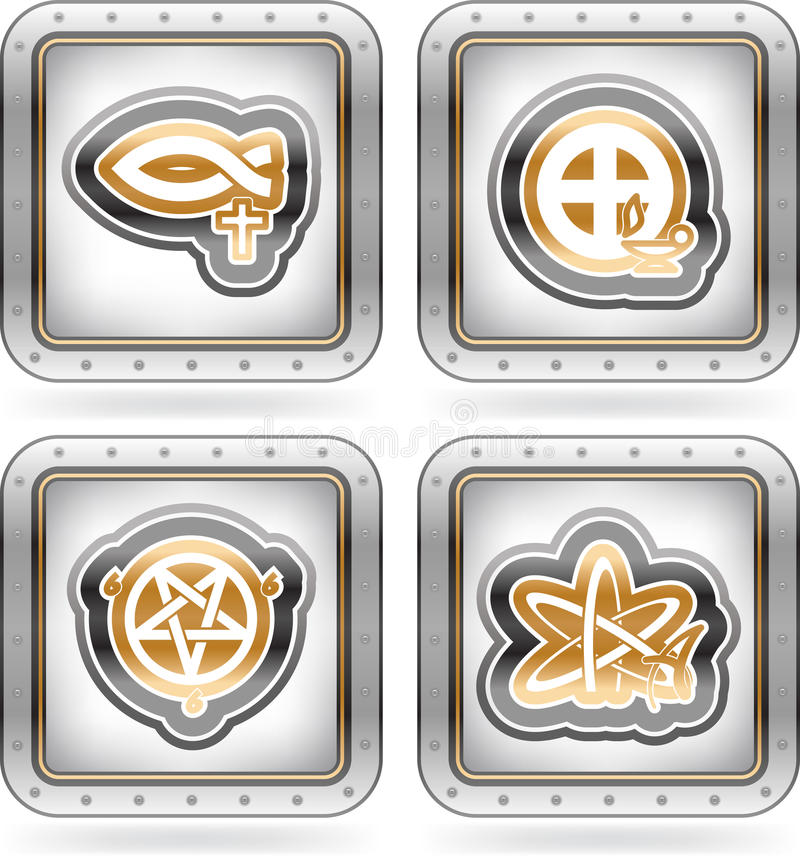 Religion. Is the adherence to codified beliefs and rituals, pictured here from left to right: Christianity, Gnosticism, Satanism, Atheism. The artwork are saved stock illustration