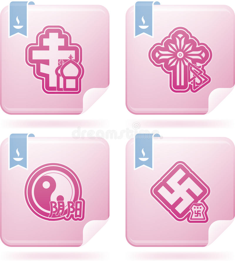 Religion. Is the adherence to codified beliefs and rituals, included icons from left to right, top to bottom: Christianity, Gnosticism, Satanism, Atheism. This royalty free illustration