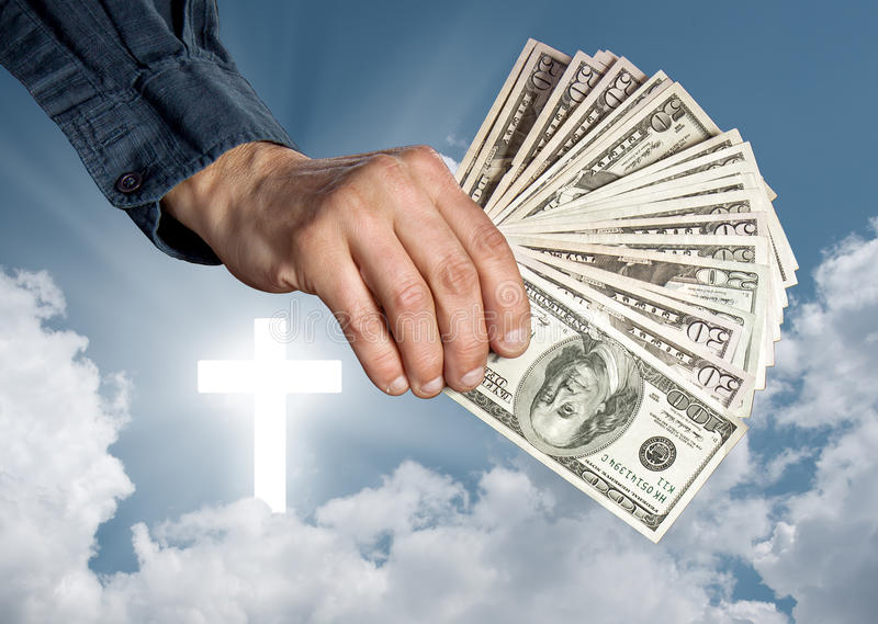 Religion as a business. Religion, faith and money concept royalty free stock photos