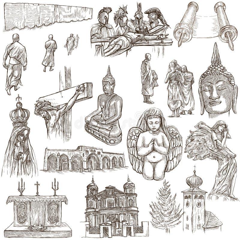 Religion auf der ganzen Welt - eine Hand gezeichnete Sammlung vektor abbildung