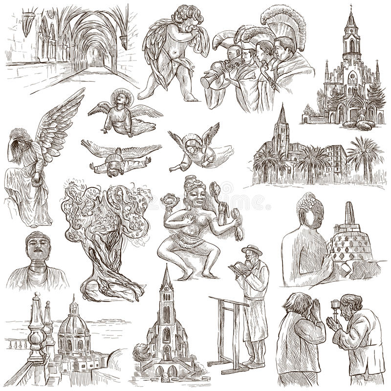 Religion auf der ganzen Welt - eine Hand gezeichnete Sammlung stock abbildung