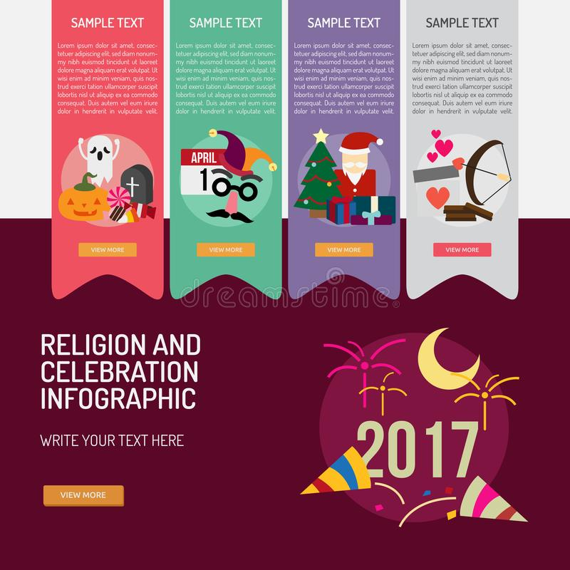 Religion and Celebrations Infographic Complex. Infographic Religion and Celebrations | Use for religion, celebrations, holidays and much more. The set can be stock illustration