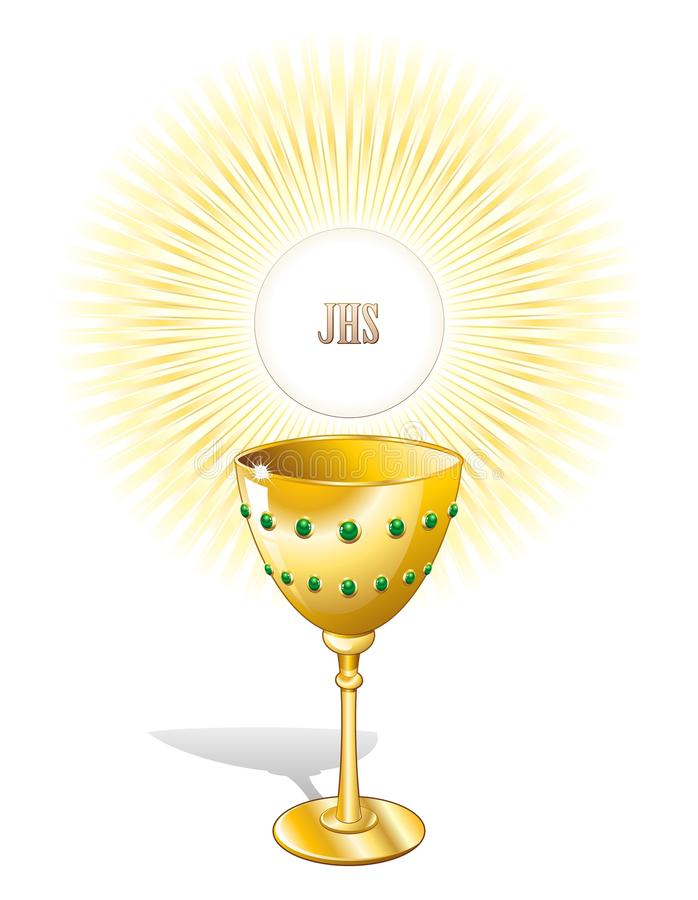 Religion Chalice Cup and Host. A GOlden Cup with Host royalty free illustration