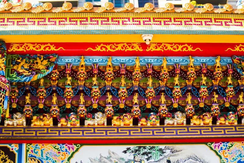 Religion chinoise, décoration de temple, découpage du bois, Fortuna image stock