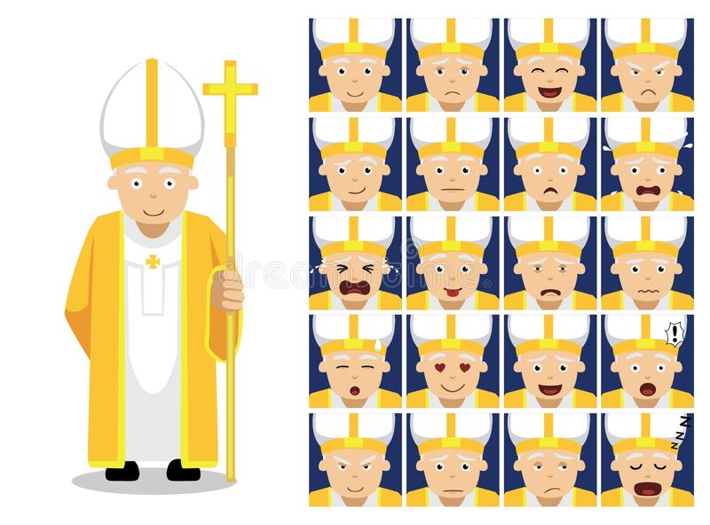 Religion Christian Pope Cartoon Emotion Faces Vector Illustration vector illustration