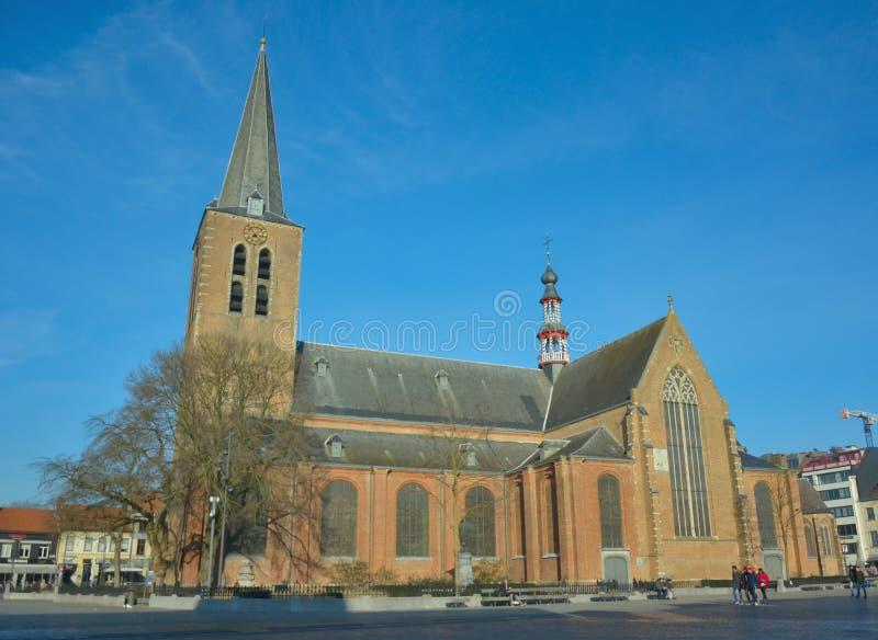 Religion, church in turnhout, Belgium. TURNHOUT, BELGIUM, January 2017: religion, Traditional late Roman church in Turnhout, Belgium royalty free stock photos