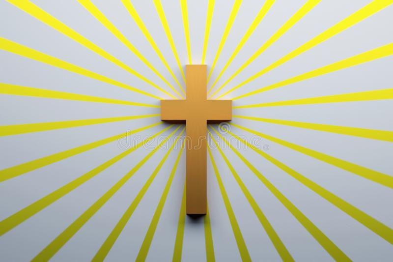 Religion concept. Cross symbol of Christianity. Religion concept. Cross symbol of Christianity over the surface with yellow rays. 3d illustration royalty free illustration
