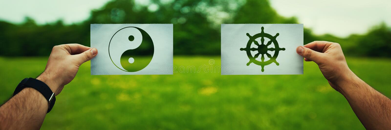 Buddhism vs Taoism royalty free stock photography