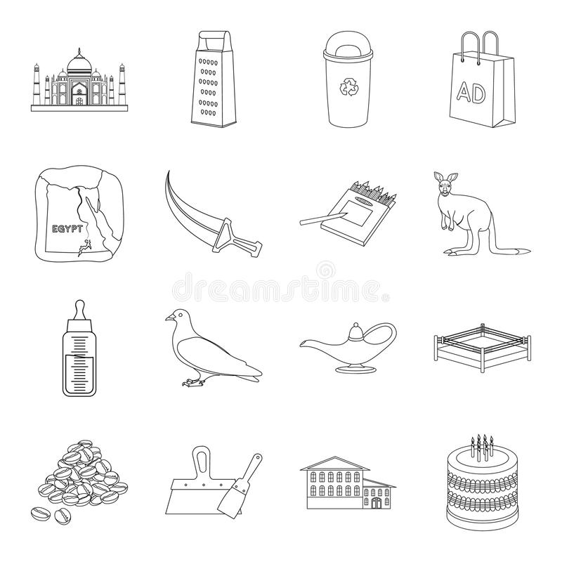 Religion, cooking, animal and other web icon in outline style.sport, school, ecology icons in set collection. stock illustration