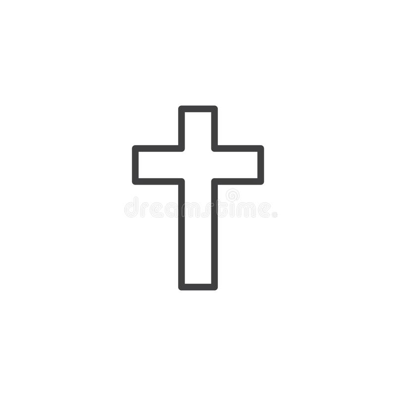Christian Cross Line Icon, Outline Vector Sign, Linear Style