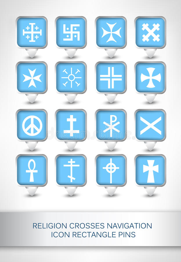 Religion crosses navigation icon rectangle pins royalty free illustration