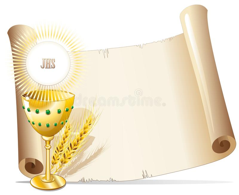 Religion Cup and Host Background. A Golden Cup with Host on Parchment background stock illustration