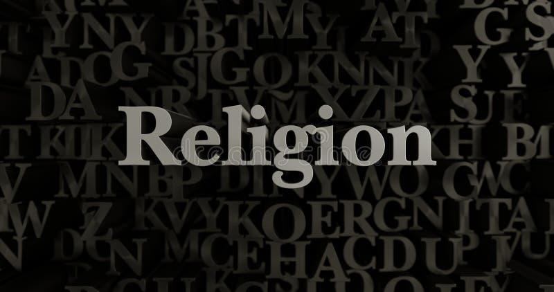 Religion - 3D übertrug metallische gesetzte Schlagzeilenillustration vektor abbildung