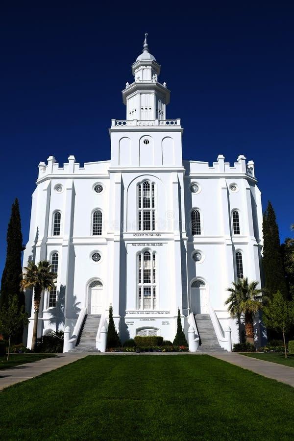 Religion för kyrka för sten för tempel för St George Mormon LDS vit arkivfoton