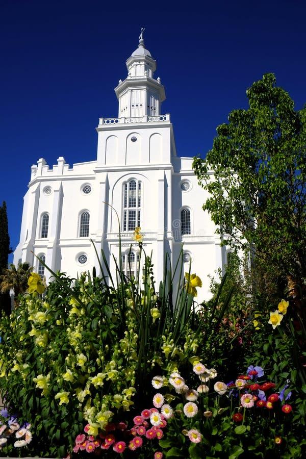 Religion f?r kyrka f?r sten f?r tempel f?r St George Mormon LDS vit arkivbilder