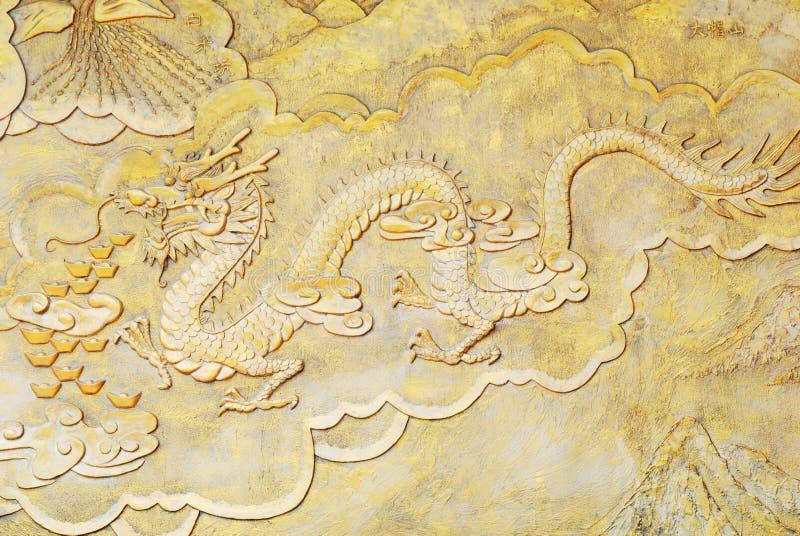 Religion golden relief of dragon
