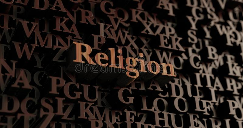 Religion - hölzernes 3D übertrug Buchstaben/Mitteilung lizenzfreie abbildung