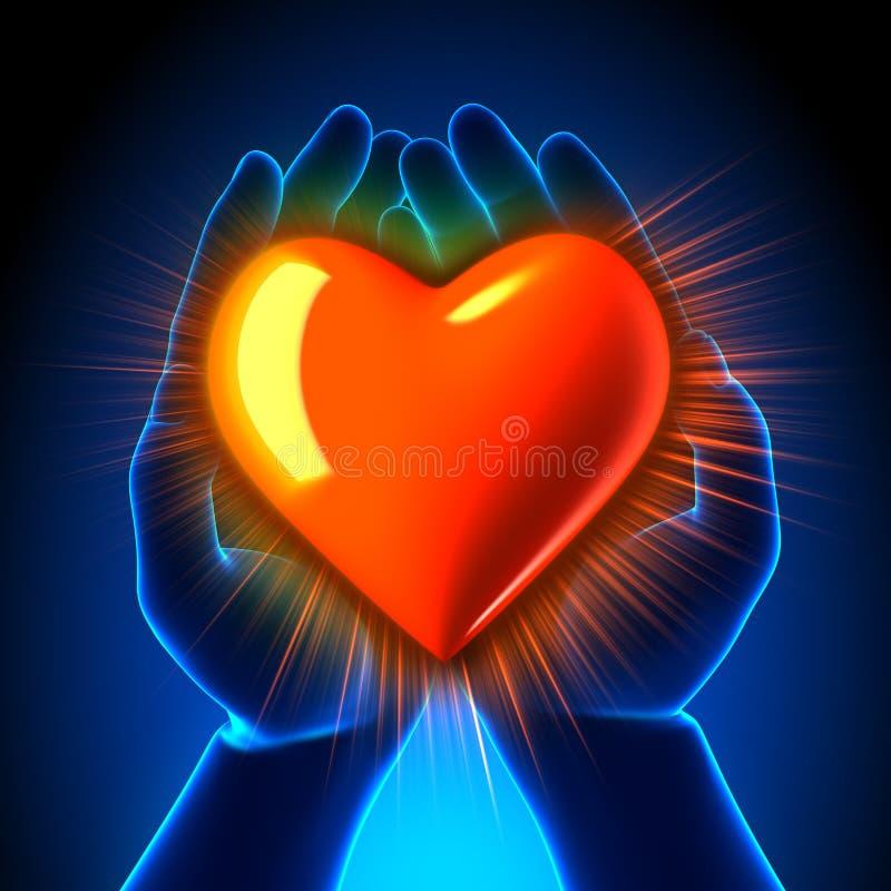 Religion/heiliges Liebes-Herz in den Händen - glühend lizenzfreie abbildung