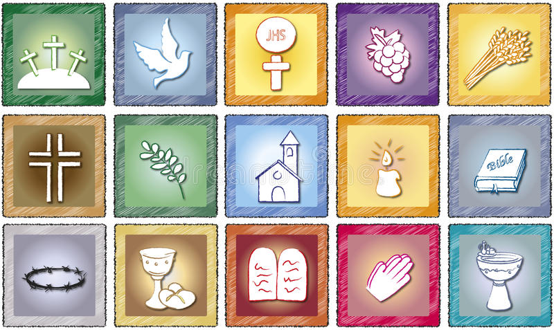 Religion icons stock illustration