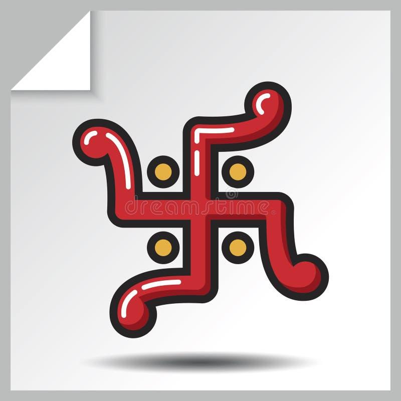 Religion icons_9. Jainism icon - swastika. Vector Isolated flat colorful illustration stock illustration
