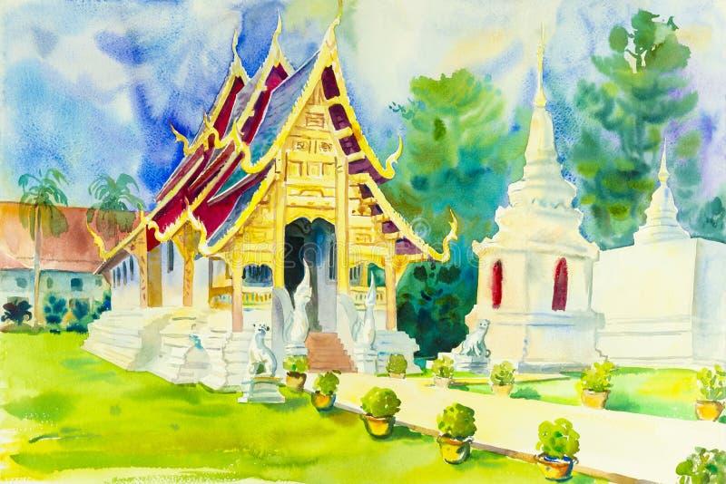 Religion malend bunt von der Pagode im Tempel lizenzfreie abbildung