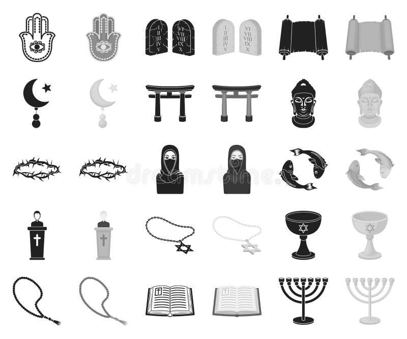 Religion- och trosvart, monokromma symboler i den fastställda samlingen för design Tillbehör rengöringsduk för materiel för bönve stock illustrationer
