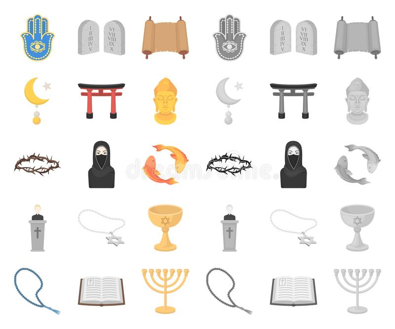 Religion- och trotecknad film, mono symboler i den fastställda samlingen för design Tillbehör rengöringsduk för materiel för bönv vektor illustrationer