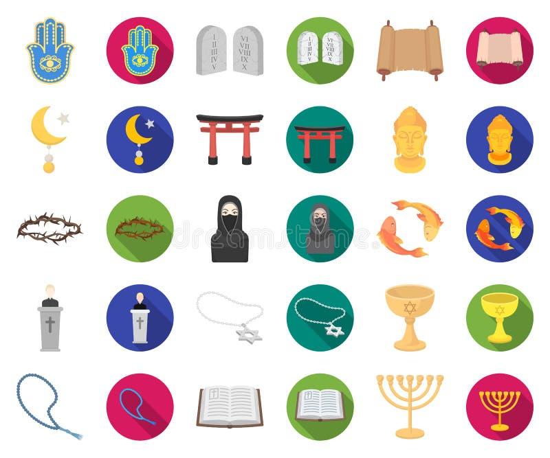 Religion- och trotecknad film, plana symboler i den fastställda samlingen för design Tillbehör rengöringsduk för materiel för bön vektor illustrationer