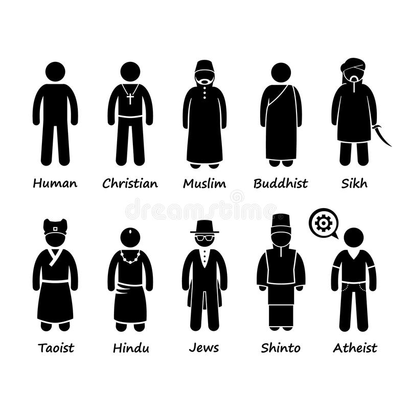 Religion of People in the World Cliparts. A set of human pictogram representing religion of the world. They are Christian, Muslims, Buddhist, Sikh, Taoist stock illustration