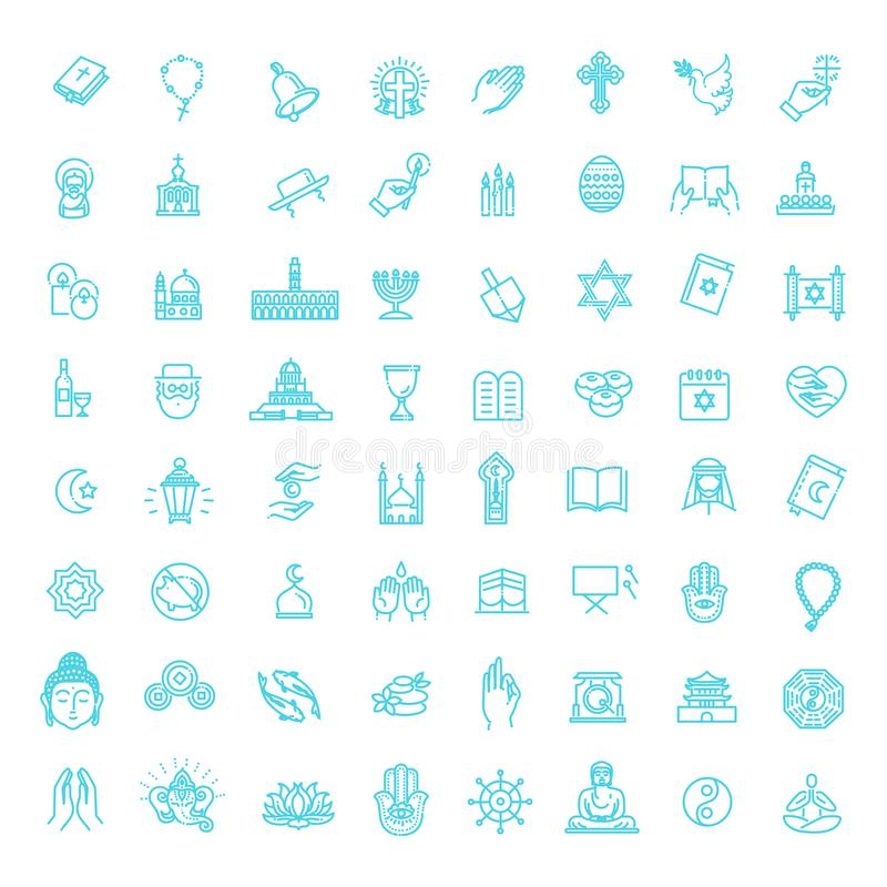 Vector religion icons set thin style. Vector. Religion related icons. Thin vector icon set stock illustration