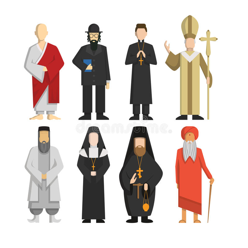 Religion representatives set. Pope and priest, rabbi and monk and others. Religious culture stock illustration