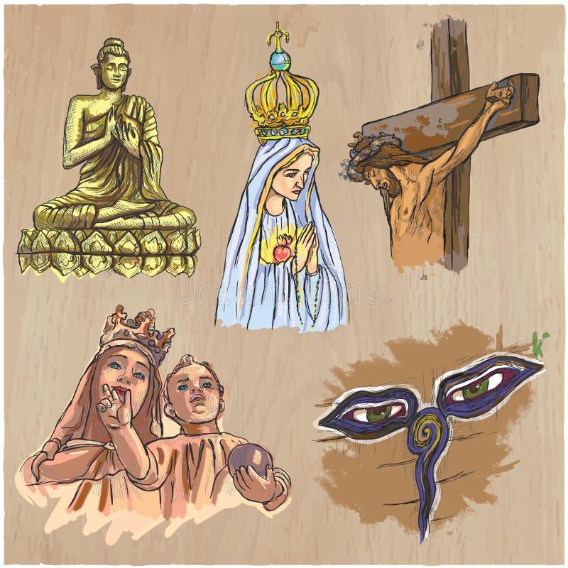 Religion runt om världen - en hand dragen vektor vektor illustrationer