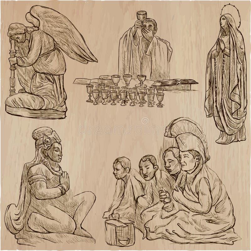Religion runt om världen - en hand dragen vektor royaltyfri illustrationer