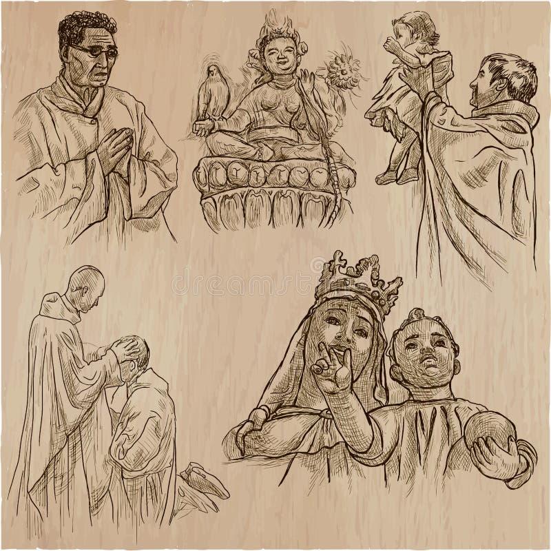 Religion runt om världen - en hand dragen vektor stock illustrationer