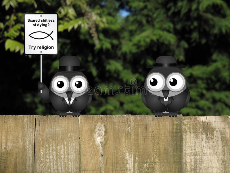 Religion Scared of Dying. Comical scared of life try religion sign with bird atheist and bird vicar perched on a wooden fence stock illustration