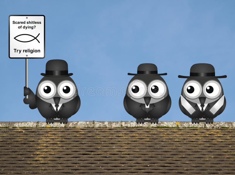 Religion Scared of Dying. Comical scared of life try religion sign with bird atheist and bird vicar and Rabbi perched on a rooftop against a clear blue sky vector illustration