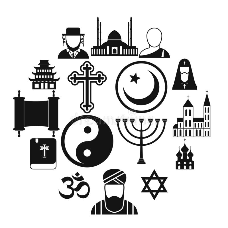Religion simple icons set. For web and mobile devices royalty free illustration