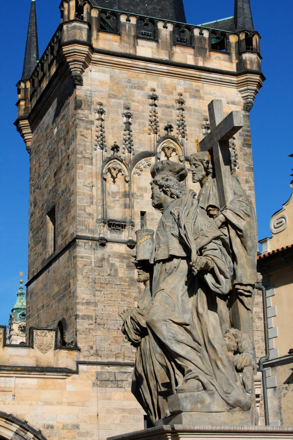Religion statues on the Charles bridge is located in Prague, Czech Republic. royalty free stock images