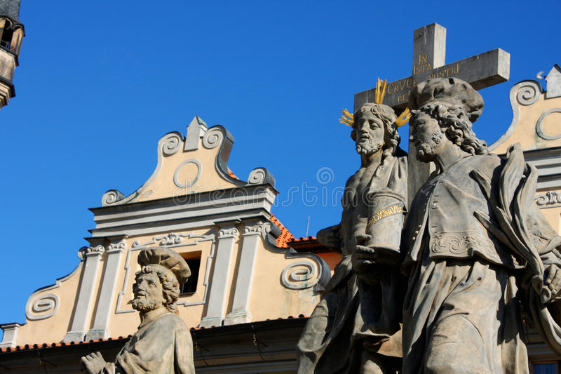 Religion statues on the Charles bridge is located in Prague, Czech Republic. stock image