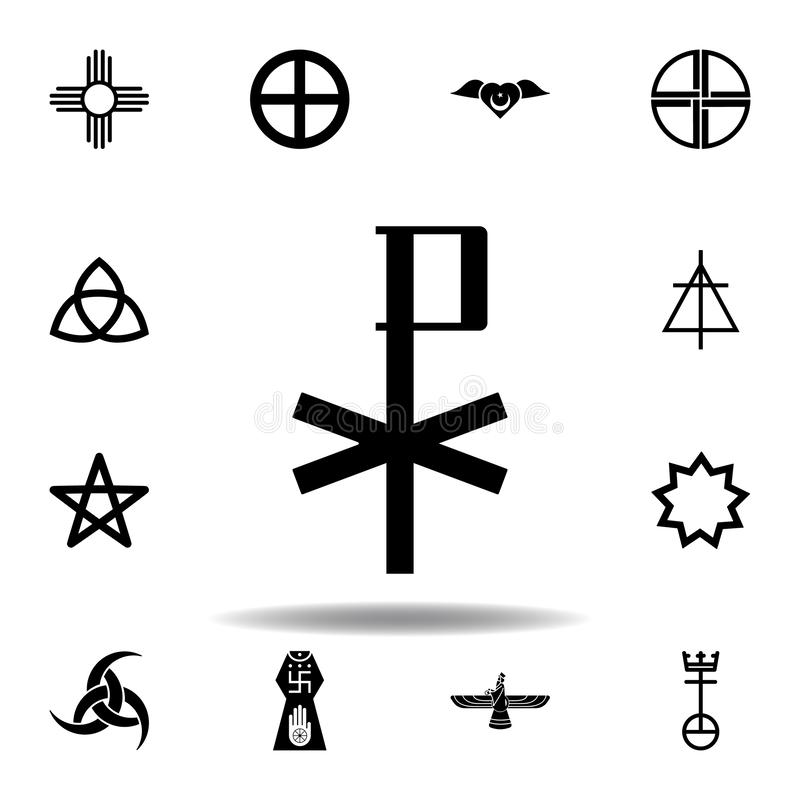 Religion symbol, chi rho icon. Element of religion symbol illustration. Signs and symbols icon can be used for web, logo, mobile. App, UI, UX on white stock illustration