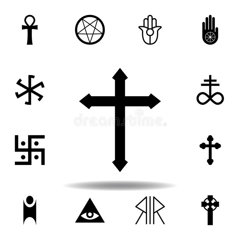 Religion symbol, cross icon. Element of religion symbol illustration. Signs and symbols icon can be used for web, logo, mobile app. UI, UX on white background stock illustration
