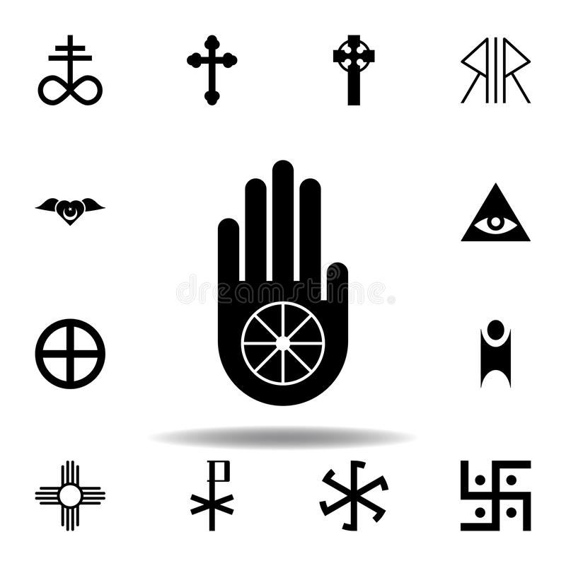 Religion symbol, Jainism icon. Element of religion symbol illustration. Signs and symbols icon can be used for web, logo, mobile. App, UI, UX on white vector illustration