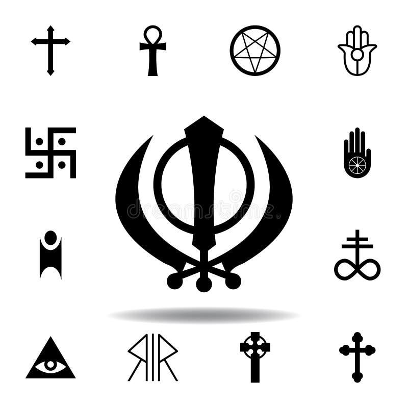 Religion symbol, Sikhism icon. Element of religion symbol illustration. Signs and symbols icon can be used for web, logo, mobile. App, UI, UX on white royalty free illustration